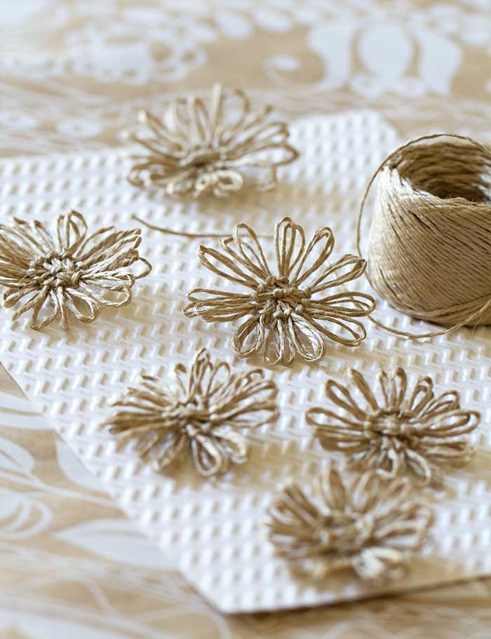 Wedding flowers made of twine