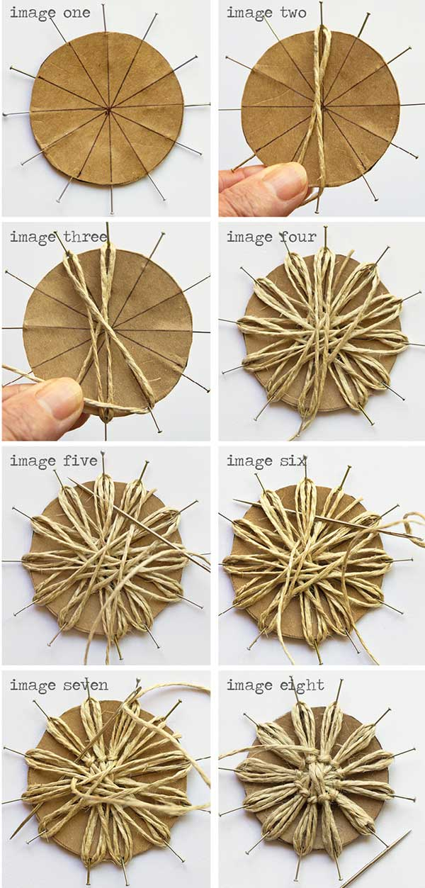 Eight steps of how to make wedding flowers made of twine